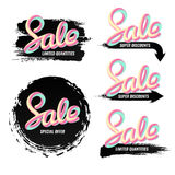 A set of banners sale in a modern style. Handwriting. Blend letters. Royalty Free Stock Images