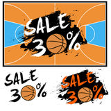 Set banners sale 30 percent with basketball Stock Photos