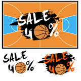 Set banners sale 40 percent with basketball Royalty Free Stock Photography