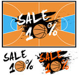 Set banners sale 10 percent with basketball. Drawn in a grunge style. Vector illustration Royalty Free Stock Image