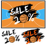 Set banners sale 20 percent with basketball. Drawn in a grunge style. Vector illustration Royalty Free Stock Image