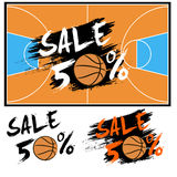 Set banners sale 50 percent with basketball Royalty Free Stock Photography