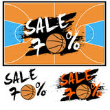 Set banners sale 70 percent with basketball Stock Image