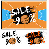 Set banners sale 90 percent with basketball. Drawn in a grunge style. Vector illustration Stock Photos