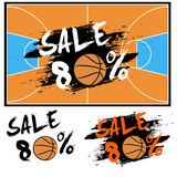 Set banners sale 80 percent with basketball Royalty Free Stock Photos