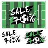 Set banners sale 70 percent with soccer ball Stock Image