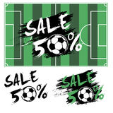 Set banners sale 50 percent with soccer ball Royalty Free Stock Photo