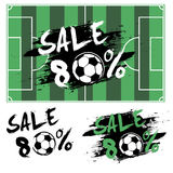 Set banners sale 80 percent with soccer ball Stock Photo