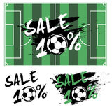 Set banners sale 10 percent with soccer ball. Drawn in a grunge style. Vector illustration Royalty Free Stock Photography