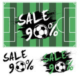 Set banners sale 90 percent with soccer ball. Drawn in a grunge style. Vector illustration Royalty Free Stock Images