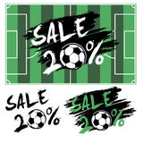 Set banners sale 20 percent with soccer ball. Drawn in a grunge style. Vector illustration Stock Images