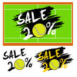 Set banners sale 20 percent with tennis ball. Drawn in a grunge style. Vector illustration Stock Image