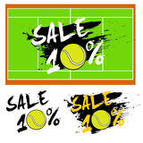 Set banners sale 10 percent with tennis ball. Drawn in a grunge style. Vector illustration Stock Images