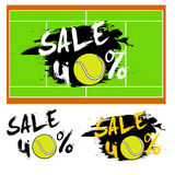 Set banners sale 40 percent with tennis ball. Drawn in a grunge style. Vector illustration Stock Photos