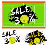 Set banners sale 30 percent with tennis ball. Drawn in a grunge style. Vector illustration Royalty Free Stock Photos