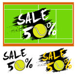Set banners sale 50 percent with tennis ball Royalty Free Stock Images
