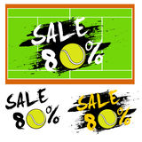 Set banners sale 80 percent with tennis ball Stock Photo