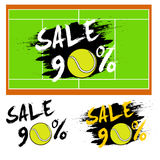 Set banners sale 90 percent with tennis ball. Drawn in a grunge style. Vector illustration Royalty Free Stock Photo