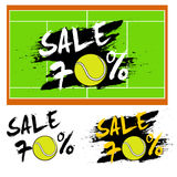 Set banners sale 70 percent with tennis ball Royalty Free Stock Images