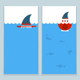 Set of banners about save sharks and undersea world. Royalty Free Stock Photos