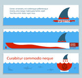 Set of banners about save sharks and undersea world Royalty Free Stock Photos