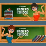 Set of banners with school books and cartoon girl character Stock Images
