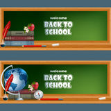 Set of banners with school books, feather in ink bottle, Earth globe, compass, apple and flower Royalty Free Stock Photo