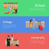 Set of Banners School College University. Vector. Set of banners school college university. Education order school college university. Right way to become a good Royalty Free Stock Photo