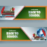 Set of banners with school supplies, apple and flowers Royalty Free Stock Photos