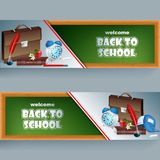 Set of banners with school supplies, school bag and alarm clock Royalty Free Stock Photo