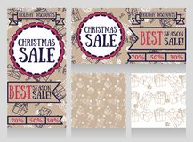 Set of banners and seamless wrapping paper with gift boxes for winter season sale Royalty Free Stock Image