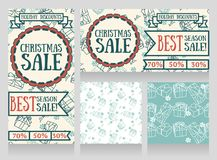 Set of banners and seamless wrapping paper with gift boxes for winter season sale Royalty Free Stock Images