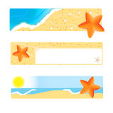 Set of banners with seastar. On sand beach and blue sea background Stock Photos