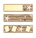 Set of banners with seastar, rope, stones. On deck background with text area frame Royalty Free Stock Photo