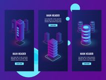Set of banners, server room rack isometric vector, networking area, data center, cloud storage, database icon. Ultraviolet purple background Stock Photos