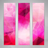 Set of banners with shining pink polygons Stock Photos