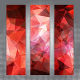 Set of banners with shining red polygonal pattern Royalty Free Stock Image