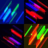 A set of banners of shining squares and triangles. Blur and bokeh on a black background in red and blue squares stock illustration