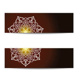 Set of banners with shiny floral mandala for yoga studio Royalty Free Stock Images