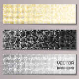 Set of banners with shiny metallic paillettes Royalty Free Stock Photography