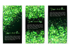 Set of banners with sparkling shamrock Royalty Free Stock Images