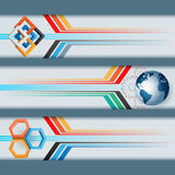 Set of banners with squares, hexagons, earth globe and space for text. Stock Photos