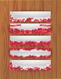 Set of banners for St. Valentines day with abstract background of hearts Royalty Free Stock Image
