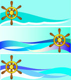 Set of banners with a steering wheel Stock Images