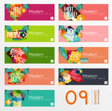 Set of banners with stickers, labels and elements Stock Images
