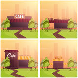 Set banners of Street Cafe. Coffeeshop. City cafe. Flat design concept. Vector illustration. Stock Photography