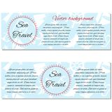 Set of banners summer sea travel. Vector illustration. Nautical horizontal set of banners summer travel. Doodle vector illustration Royalty Free Stock Photo