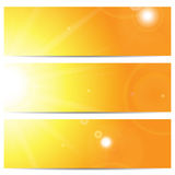 Set of banners with the sun and sunlight Stock Images