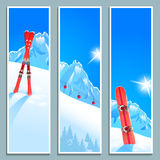 Set of banners with sunny winter landscape,  illustration, eps10. Stock Images