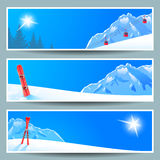 Set of banners with sunny winter landscape,  illustration, eps10. Stock Photo